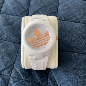 Adidas Aberdeen White silicone band/rose gold logo